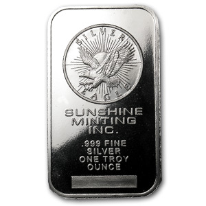 A 1 oz Silver Bar from the Sunshine Mint
