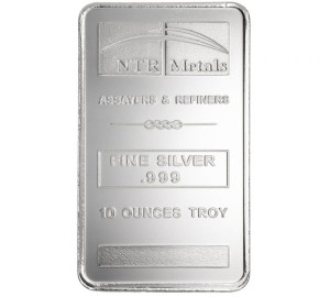 A 10 oz Silver Bar from NTR Metals