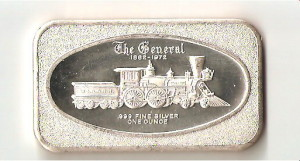 An Art Silver Bar with Train Design