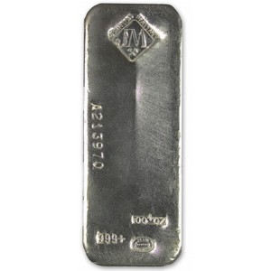 A 100 oz Silver Bar from Johnson Matthey